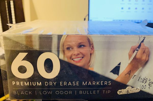 Black Dry Erase Whiteboard Markers, Bulk Pack of 60 ARTHEO
