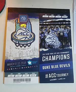 One pair 2 tickets all sessions ACC Basketball Tournament Brooklyn NYC for Sale in Richmond, VA