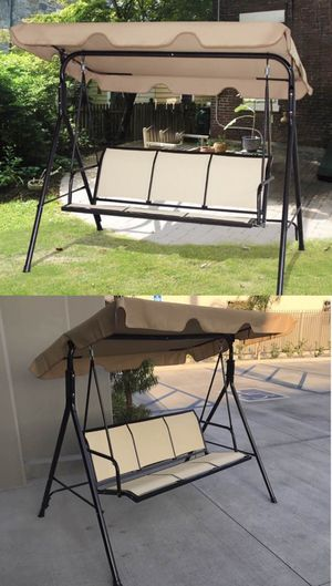 New in box $90 each 528 lbs capacity porch swing bench chair with canopy sun shade sun blocker for Sale in Pomona, CA
