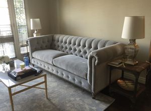 Anthropologie Grey Velvet Chesterfield Couch for Sale in Beverly Hills, CA