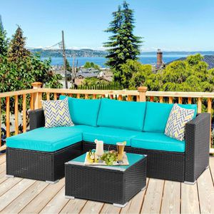 Patio Table & Pool Chairs Wicker Furniture Outdoor Rattan Sofa Garden Conversation Backyard Set (Blue) for Sale in New York, NY