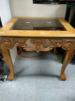 Wooden Glass Side Table for Sale in Columbus, OH