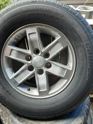 """Universal Chevy rims 17"""" all four rims and tires for Sale in Houston, TX"""