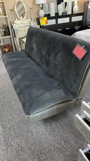 Grey Velvet sofa bed Futon with Bluetooth speakers OKC for Sale in Euless, TX