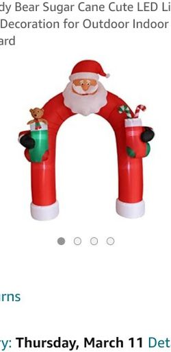 9 Foot Tall Giant Christmas Inflatable Santa Claus Archway Arch with Teddy Bear Sugar Cane Cute LED Lights Lighted Blowup Party Decoration for Outdoor for Sale in Lake Stevens,  WA