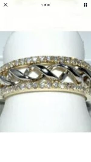 10K Yellow Gold filled. White Topaz Wedding Ring Sz 8-9 for Sale in Stockton, CA