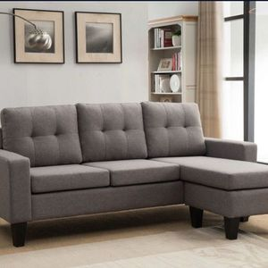 LIGHT GRAY Tufted Back Linen Fabric Sectional Sofa for Sale in Pomona, CA