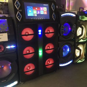 Karaoke Speakers with Built in LCD, WIFI,Bluetooth, USB, Microphone Guitar input WARRANTY!!! for Sale in Houston, TX