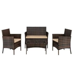 NEW 4 Piece Patio Furniture Set w/Cushions Couch Chairs and Table Brown for Outdoor Areas for Sale in Las Vegas, NV