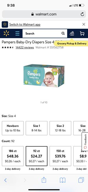 Pampers baby dry size 4 for Sale in Farmers Branch, TX