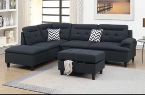 Brand New Black Linen Sectional Sofa Couch + Storage Ottoman for Sale in Fairfax, VA