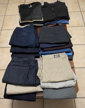32 pieces calvin klein jeans and polos michael kors jeans and polos and calvin klein t shirts all jeans size 36x30 an 36x32 all polo shirts and t shi for Sale in Azusa, CA