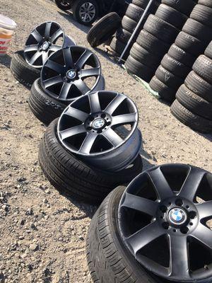 5 lug 17 inch bmw rims , plasti dipped black for Sale in Upland, CA