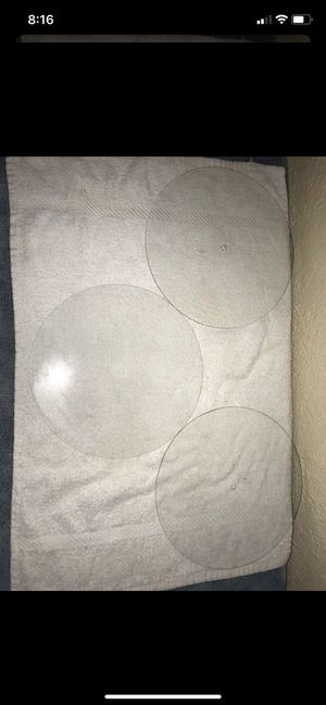 """Three vintage 1970s clear 9"""" glass disco discs / wheel for light show projector or other projects for Sale in Pembroke Pines, FL"""