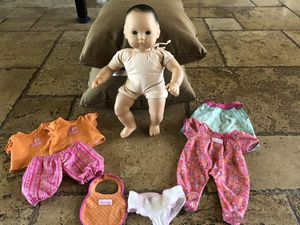 American Girl Doll Bitty Baby plus 3 outfits, bib & diaper for Sale in Chandler, AZ