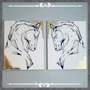Large Mirrored horse sketches for Sale in San Antonio, TX