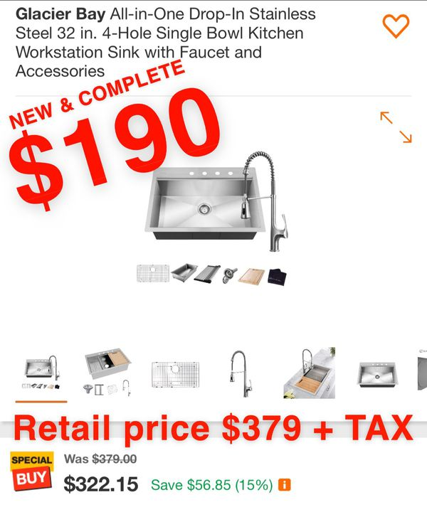 Glacier Bay All-in-One Drop-In Stainless Steel 32 in. 4-Hole Single Bowl Kitchen Workstation Sink with Faucet and Accessories