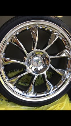 """19"""" Chrome twist blade wheels mounted on a set of four 225/35R19 with very low miles. 5 X 112 lug pattern for Sale in Bonney Lake,  WA"""