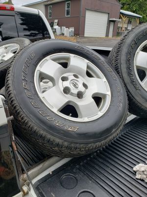PRICE CUT 100 =====>75 PER TIRE 4 Toyota 20 inch rims and bridgestone LT 275/65R 18 tires with 3/4 life left! for Sale in Pittsburgh, PA