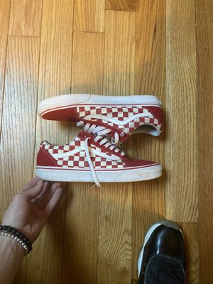 Red checker vans good condition size 9.5 for Sale in Little Ferry, NJ
