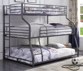 INDUSTRIAL STYLE TWIN OVER FULL OVER QUEEN SIZE TRIPLE BUNK BED FRAME for Sale in Downey,  CA