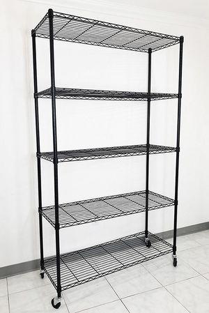 "(New in box) $90 Metal 5-Shelf Shelving Storage Unit Wire Organizer Rack Adjustable w/ Wheel Casters 48x18x82"" for Sale in Whittier, CA"