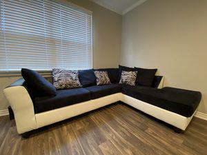 2 Piece Black & White Sectional Couch for Sale in Dallas, TX