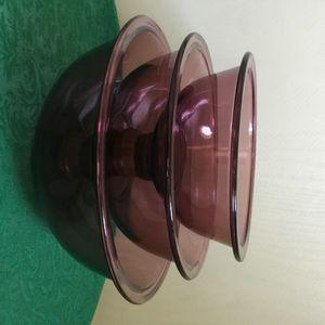 Vintage Set of 3 Pyrex True Purple Amethyst Nesting Mixing Bowls 322, 323, 325 for Sale in Murrieta, CA