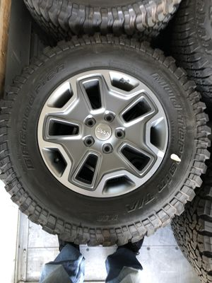 """New Jeep Wrangler Unlimited Rubicon 17"""" WHEELS and tires for Sale in Bakersfield, CA"""