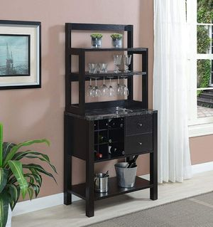 Serving Bar, Wine Rack with Drawers Black Faux Marble for Sale in ROWLAND HGHTS, CA