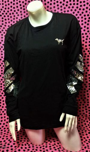 victoria's secret pink bling campus long sleeve shirt black $40 for Sale in Fort Worth, TX