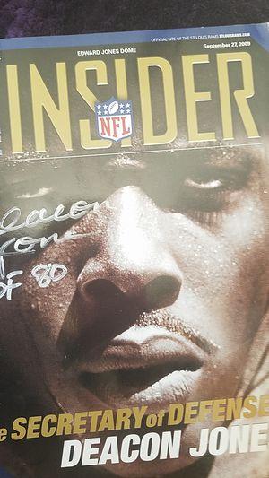 Great condition. Rams insider magazine. Deacon Jones signature. for Sale in Las Vegas, NV