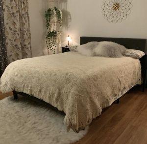 Vintage chenille bohemian bedspread farmhouse macrame blanket for Sale in Bellingham, WA