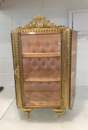 Antique filigree and beveled glass jewelry box & perfume bottles for Sale in Delray Beach, FL