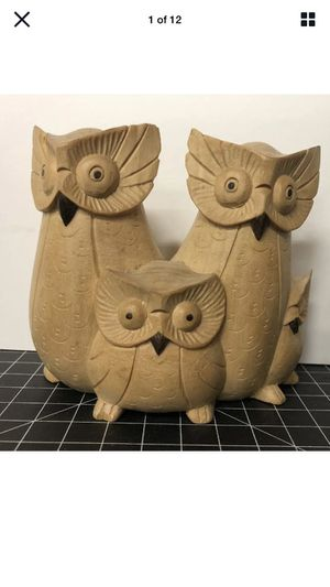 Vintage wooden owl figurine hand carved family of owls for Sale in Los Angeles, CA