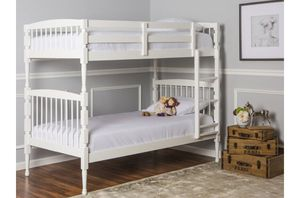 Dream On Me Julia 2-in-1 Twin Over Twin Bunk Bed, White A16-9360 for Sale in St. Louis, MO