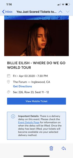 Billie Ellish- Where Do We Go World Tour for Sale in San Bernardino, CA