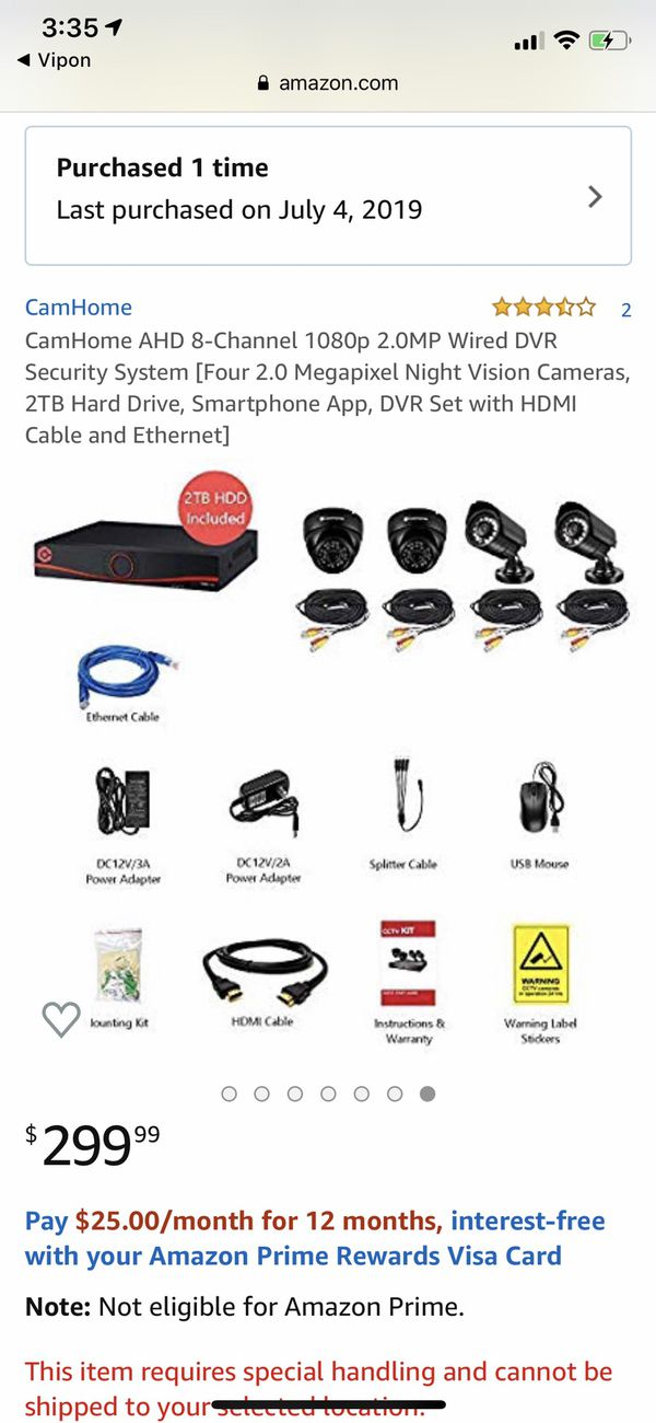 Brand New CamHome AHD 8-Channel 1080p 2.0MP Wired DVR Security System [Four 2.0 Megapixel Night Vision Cameras, 2TB Hard Drive, Smartphone App, DVR S