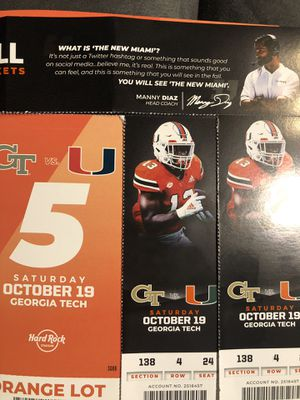 Miami Hurricanes two tickets row 4 with orange lot parking pass for Sale in South Miami, FL