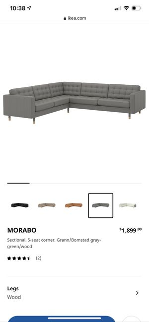 Gray Leather, 5 Seat Corner, Sectional Couch for Sale in Temecula, CA
