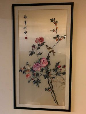 Collectible Antique Chinese Sparrows Embroidered Silk Art for Sale in Queens, NY