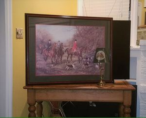 English Fox Hunt Scene Framed Wall Art and Brass Bugle Lamp for Sale in Dallas, TX