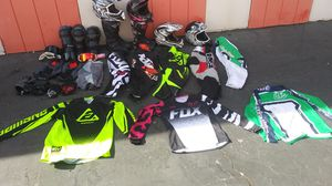 All kinds of motorcycle gear helmets knee knee pads pants jerseys boots goggles for Sale in Lake View Terrace, CA