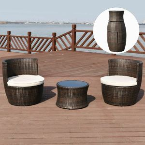 3 Pcs Stackable Rattan Furniture Set Chair Coffee Table Cushioned For Outdoor Patio Porch Garden for Sale in Agua Dulce, CA