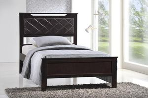 Twin Wooden Platform Bed Frame, Cappuccino, #7580CP for Sale in Santa Fe Springs, CA