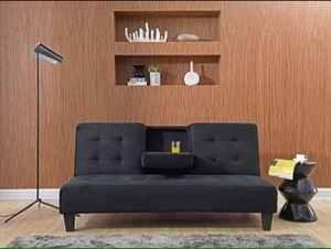 BLACK Dacron Futon Sofa Bed W/ Cup Holder for Sale in Pomona, CA