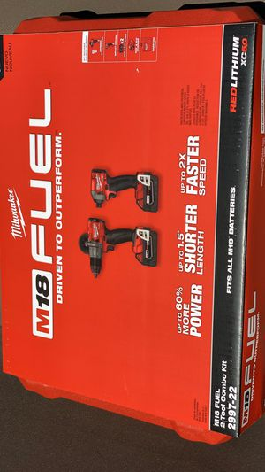 New Milwaukee M18 FUEL 18-Volt Lithium-Ion Brushless Cordless Hammer Drill and Impact Driver Combo Kit (2-Tool) with Two 5Ah Batteries$275 for Sale in Auburn, WA