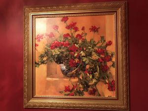 "Framed flower painting 31"" wide 31"" tall for Sale in Herndon, VA"