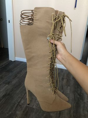 Size 7.5 Suede knee high heel boots for Sale in Stockton, CA