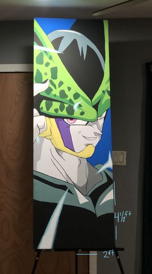 Hand painted dragon ball z Cell! Big canvas! 4 1/2 ft by 2ft! Dragon ball z anime! Artwork for Sale in Riverside, CA